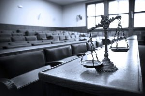 probate courtroom and scales of justice